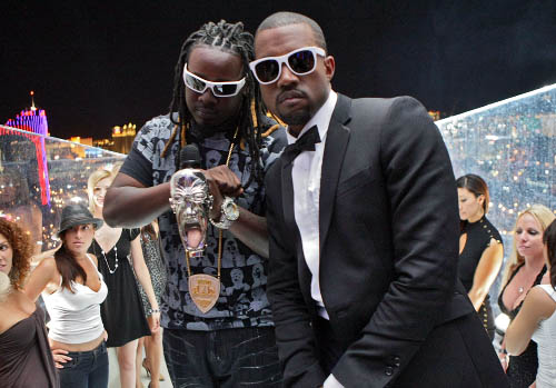 LAS VEGAS - SEPTEMBER 07:  Rappers T-Pain (L) and Kanye West perform in the Fantasy Suite for the 2007 MTV Video Music Awards held at The Palms Hotel and Casino on September 7, 2007 in Las Vegas, Nevada.  (Photo by Frank Micelotta/Getty Images) *** Local Caption *** Kanye West;T-Pain